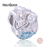 FirstQueen 100% Silver 925 Mermaid Charm Beads Fit Original Bracelet Pendant For Women Fashion DIY Jewelry New Year Gift