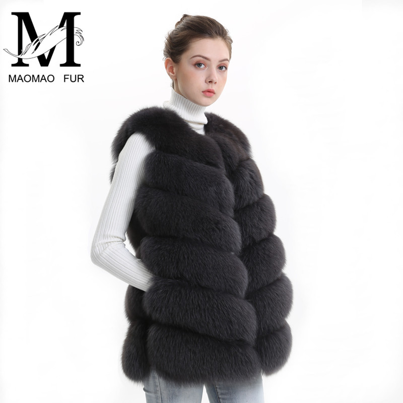 Autumn Winter Women Real Fox Fur Vest Female Genuine Fox Fur Coat Leather Jacket Warm Lady