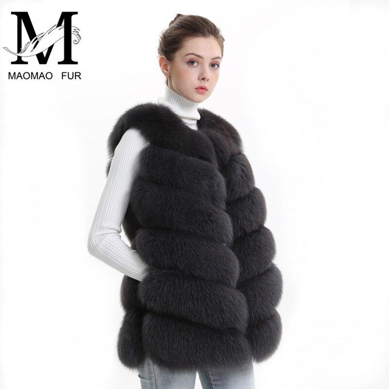 Осень-зима Для женщин натуральным лисьим женский меховой жилет натурального меха лисы пальто, кожаная куртка теплая Женская Жиле природный...