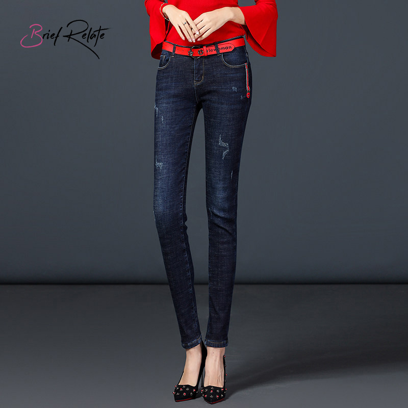 Brief Relate Blue Denim Jeans Fluff Full-length Skinny Pencil Pants Mid-waist Elastic Warm All-match