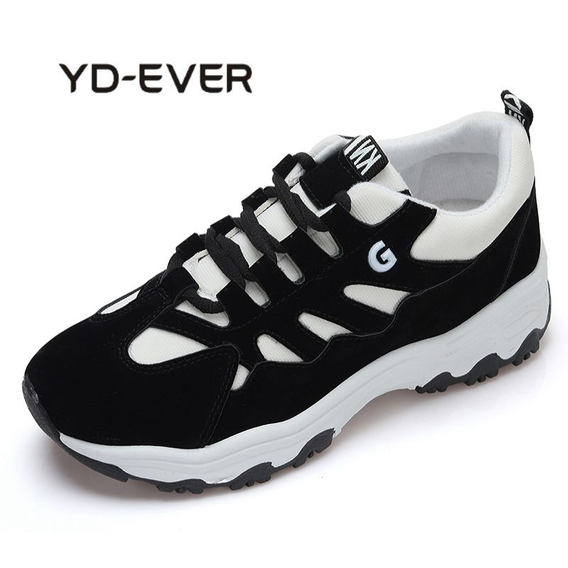 YD-EVER Women Fashion Casual Flat Shoes Breathable Damping Female Comefortable Womens Vulcanize Shoes Ladies Walking Sneakers