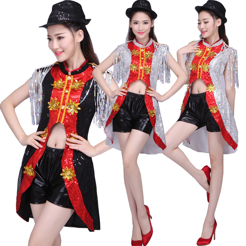 193718971 Women Modern Sequined Hip Hop Dancing Outfits Costumes Adult Stage ...