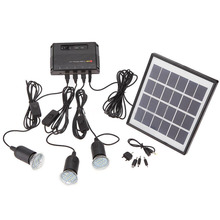 Outdoor Solar Power Panel LED Light Lamp USB Charger Home System Kit Garden Path