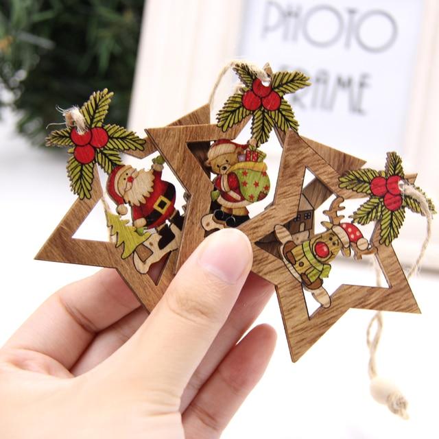 4pcs Star Printed Wooden Pendants Ornaments Xmas Tree Ornament Diy