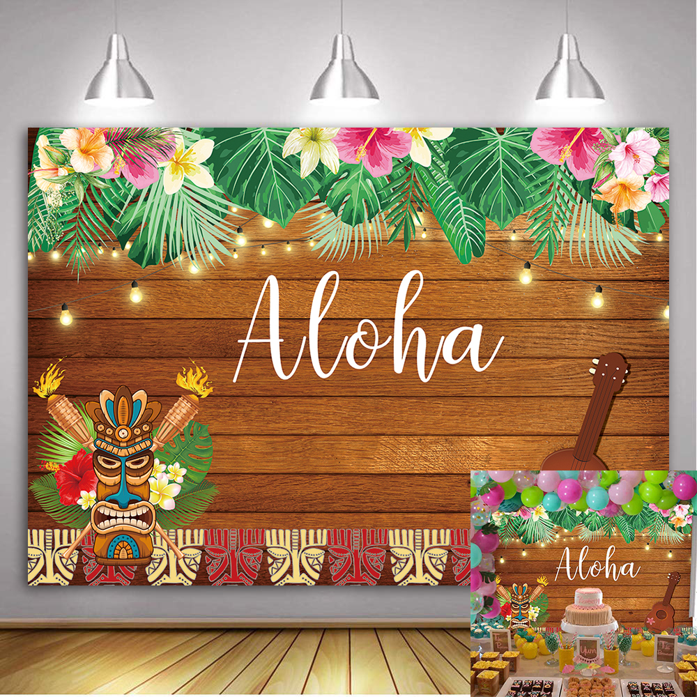 Aloha Hawaiian Luau Party Backdrop Summer Palm Flowers Wooden Photography Background Birthday Musical Party Banner Decoration image