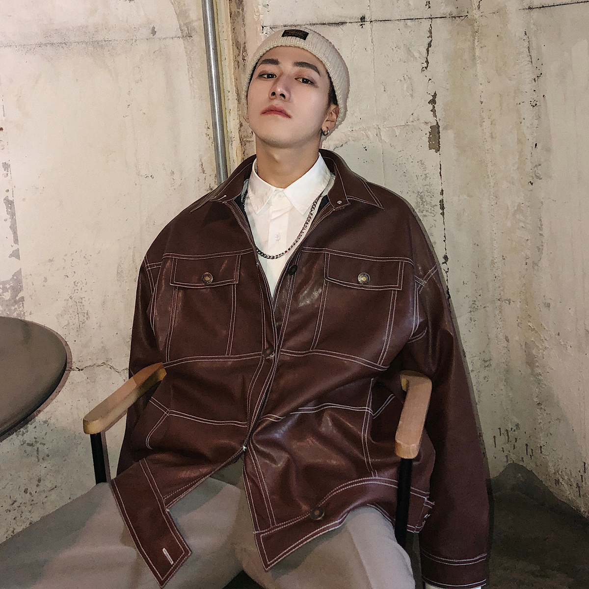 2019 Men's Fashion Hip-hop Style Pocket Leather Clothing Blazers Loose Casual Black/brown Jacket Zipper Outerwear Coat Size M-XL