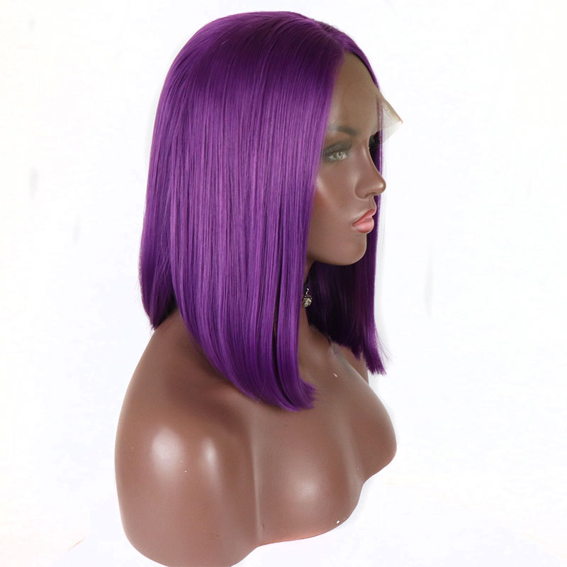 Bombshell Purple Short Bob Synthetic Lace Front Wig Glueless Straight Heat Resistant Fiber Hair Middle Part For Women Wigs-in Synthetic Lace Wigs from Hair Extensions & Wigs    2