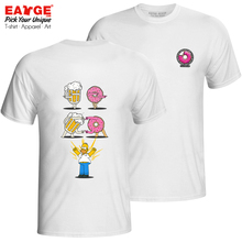Homer Bear Donut T Shirt Simps Double Sided Crossover Cool Casual Design T-shirt Print Pop Anime Unisex Cotton White Tee