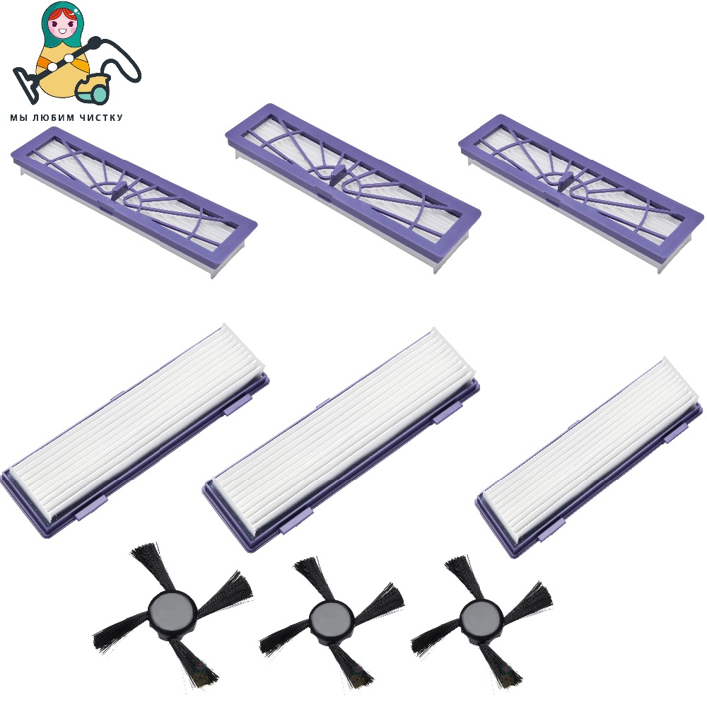 CLEAN DOLL 6 PCS Replacement Filter HEPA 3PCS Side Brushes for Neato Botvac 70e 75 80 85 D70 D80, D85 Connected Filter brush 5x hepa filter side brush for neato botvac 70e 750 80 85 robotic cleaner high quality