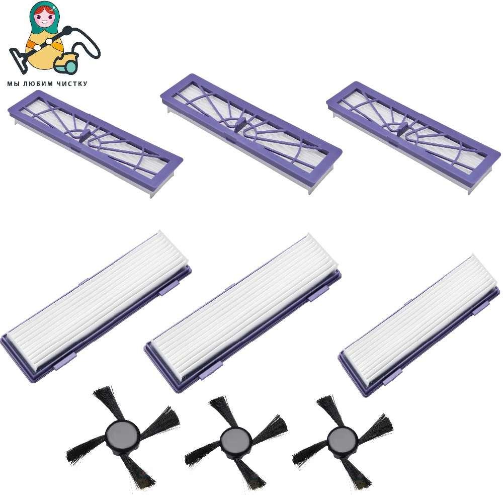 Czyste lalki 6 sztuk wymiana filtra filtr HEPA 3 sztuk boczne szczotki do Neato Botvac 70e 75 80 85 D70 D80, d85 podłączone filtr szczotka