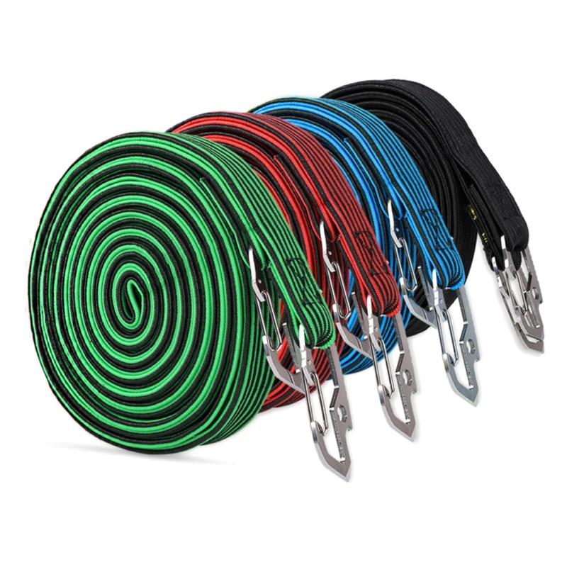 2 PCS Elastic Bike Luggage Strap Bungee Fixed Rope Suitcase Band /& Hooks