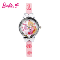 2017 Disney Barbie Kids Watch Children Watch Princess Fashion Cute Wristwatches Girls Leather Strap Clock Women