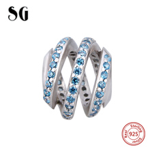 цена на SG pandora 925 sterling silver charms surrounded by blue CZ Fit original pandora Bracelets elegant Beads making Jewelry Gifts