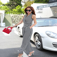 Striped Summer Jumpsuit Chiffon Sleeveless Overalls One Piece Pants Wide Leg Trousers Casual Large Size Women Jumpsuit