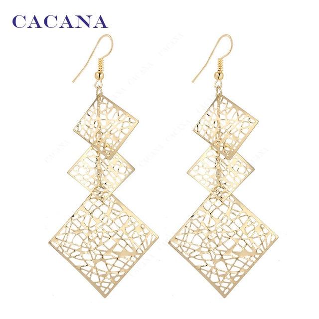 CACANA Dangle Long Earrings For Women Hollow Patten Square Bijouterie Hot Sale N