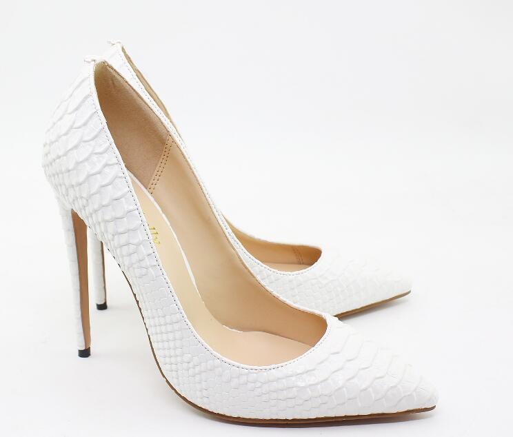 Женская обувь с острым носком, фиолетовые туфли лодочки из змеиной кожи на высоком каблуке 12 см, белые, красные, черные, 35 44, 2019 - 5