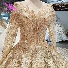 AIJINGYU فساتين الزفاف 2 في 1 أفضل زي العرائس الهندي مثير كوتور 2021 2020 الدانتيل كم طويل الكمال فستان الزفاف