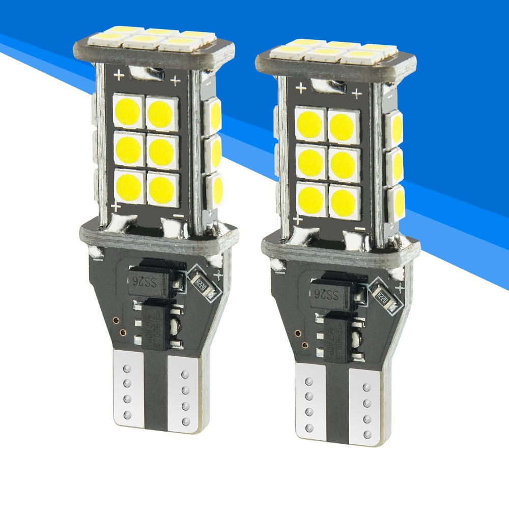 YIJINSHENG 2PCS 1100 lumens Extremely Bright 3030 Chipsets T15 912 W16W 921 LED Bulbs For Backup Reverse Lights White 6pcs extremely bright error free t15 led bulb 921 912 t15 wedge w16w led canbus bulbs stop backup reverse lights white 6000k 12v