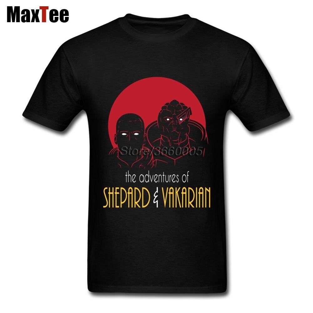 Приключения из broshep и вакариан-Mass Effect футболка Для мужчин Повседневное пользовательские короткий рукав плюс Размеры вечерние Рубашки для м...