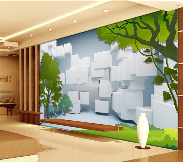 Inkjet 3D ceramic stereo tree scenery decorated wall tiles on ...