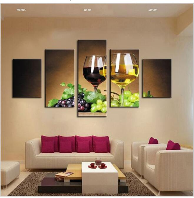 Home Decoration 5 Piece Wine Cups Pictures Canvas Oil Painting On Wall Art  For Living Room Print Decor Cheap Modern No Frames)