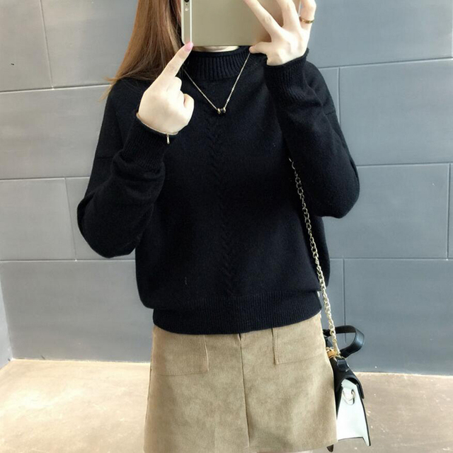 Thicken Knitted Sweaters And Pullovers women 2018 Autumn Winter Casual Turtleneck Cotton Full sleeve Striped Loose Coat female