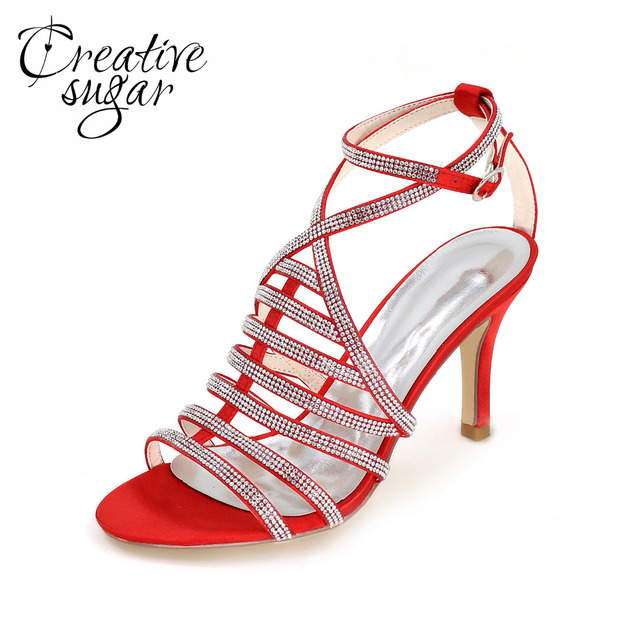27a6c270d187a Creativesugar Sexy crossed strap rhinestone sparkle lady sandals 8.5cm heel summer  dress shoes special style red silver purple