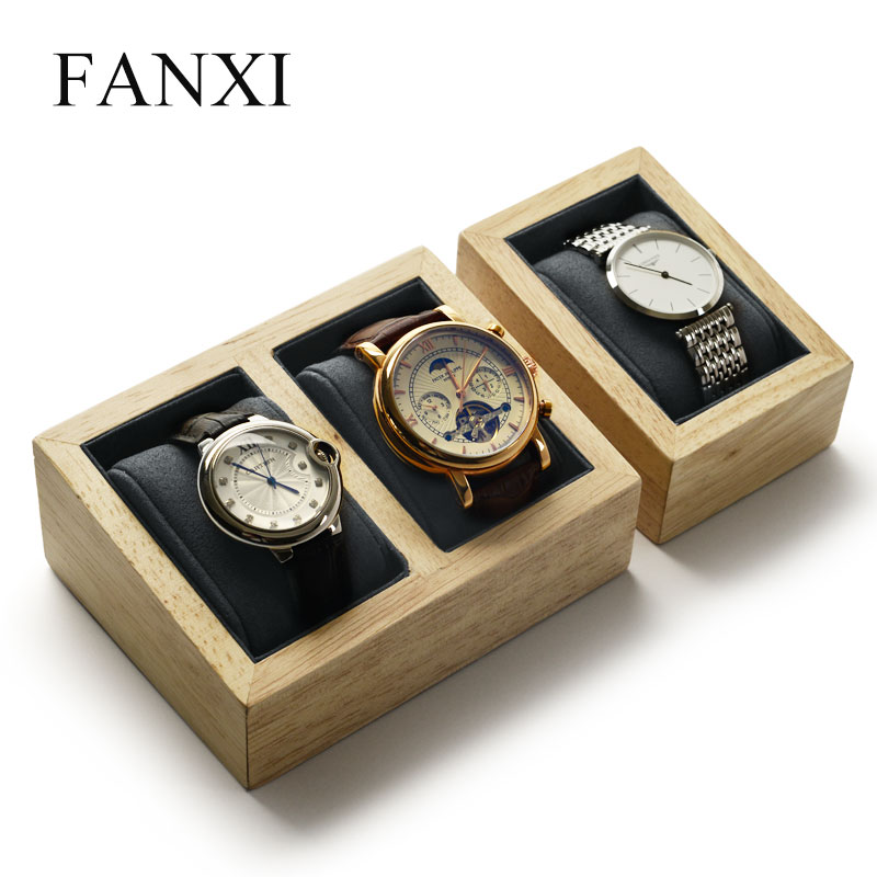 FANXI  Watch Display Sand Props Solid Wood Beige &Dark Gray With Microfiber Internal Jewelry Organizer For Shop Counter
