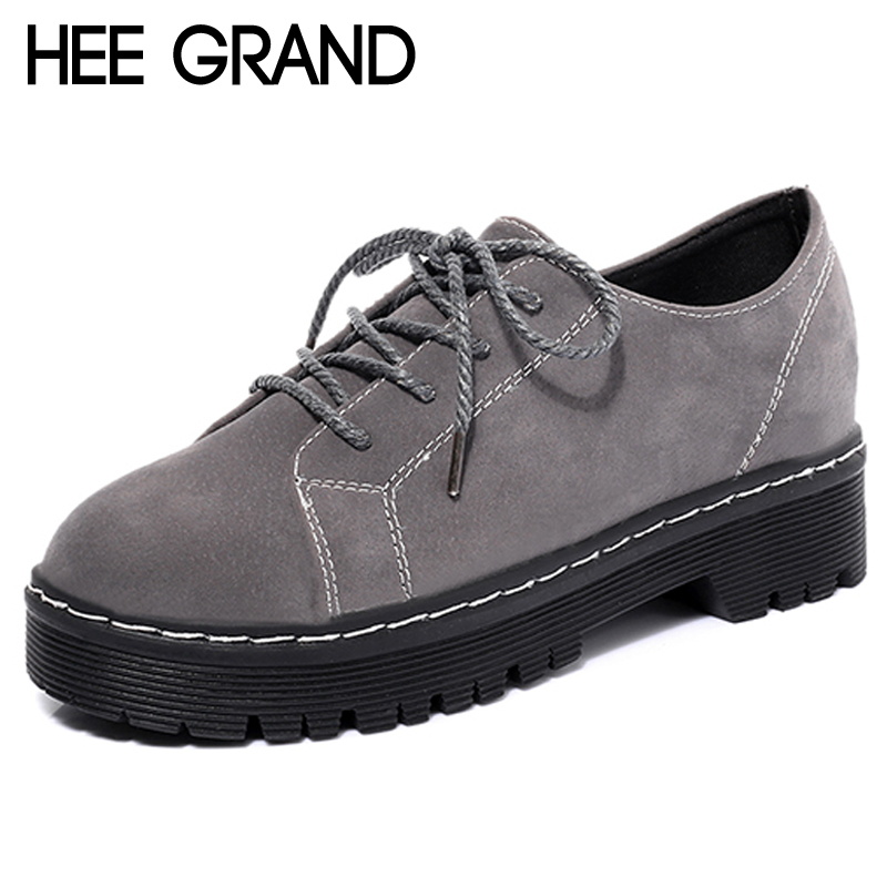 HEE GRAND 2018 Brogue Shoes Lace-Up Platform Oxfords Shoes Woman Casual Faux Suede Creepers Spring Fashion Flats XWD6763 hee grand 2017 creepers platform casual shoes woman lace up oxfords spring flats fashion solid women shoes xwd4890