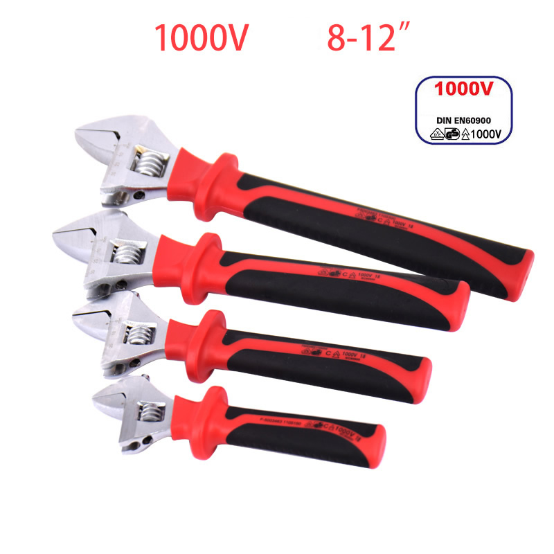 1000V Insulated Adjustable Wrench 6-12inch IEC60900 Certification Insulation Spanner Insulating Open End VDE Electrician Tools