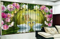 3D Curtain Dreamy Castle Flowers Swan Lake 3D Animal Curtains Living Room Bedroom Beautiful Practical Blackout Curtains