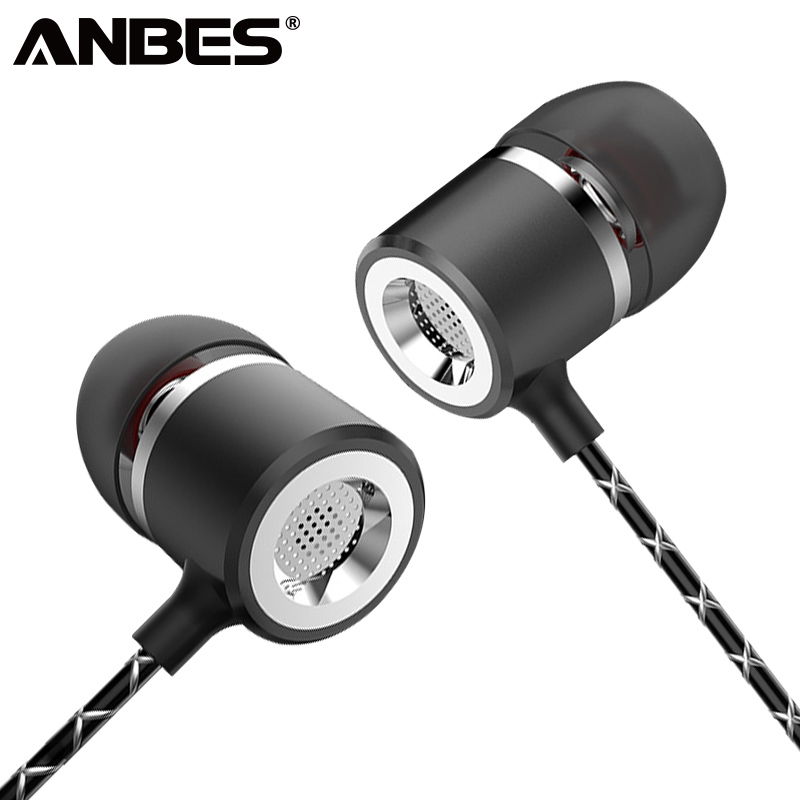 ANBES Metal Earphone S1 Wired Super Heavy Bass Earbuds In-ear With Stereo Microphone Headset for Samsung Iphone mifo r1 super bass wired earphone stereo music in ear earbuds 3 5mm microphone headset with mic for iphone xiaomi huawei samsung