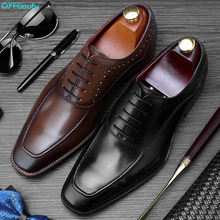 QYFCIOUFU 2019 Formal Shoes Men Genuine Leather Footwear Patina Wedding Office Oxford For Square Toe Mens Dress