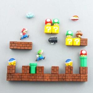 Мини Супер Марио Фигурки магниты на холодильник игрушки Братья Марио фигурка фигура магнитные наклейки игрушки Марио вопрос кирпич игрушк...