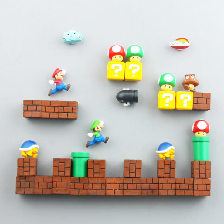 Mini Super Mario Action Figures Fridge Magnets Toys Mario Bros Figurine Figura Magnetive Stickers Toys Mario Question Brick Toys