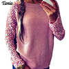 Women Pullover Sweaters Long Sleeve Lace Hollow Out Casual Loose Knitted Tops Blouse Free Shipping Plus