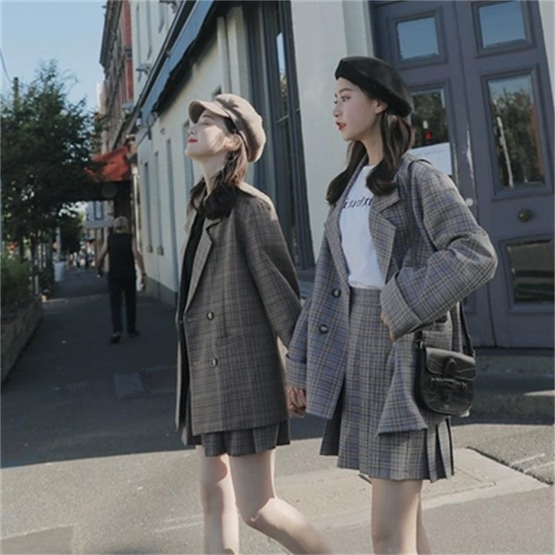 Fashion plaid small suit two-piece spring New summer loose double-breasted suit coat + pleated skirt two-piece suit women