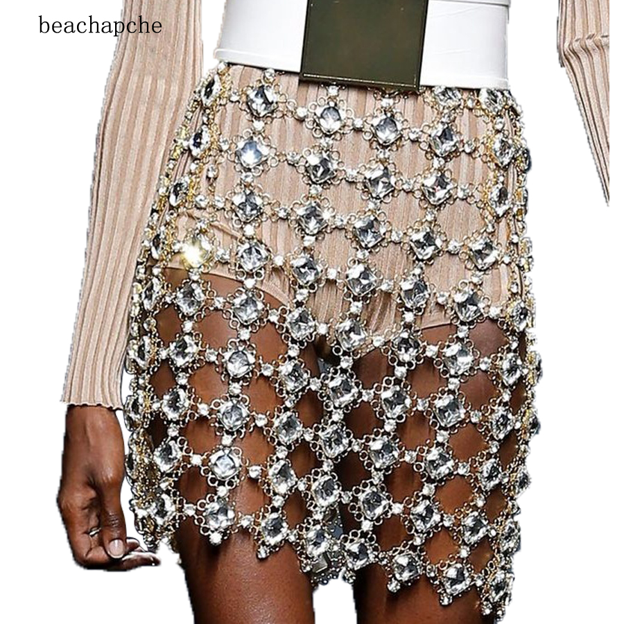 Sexy Metal Crystal Diamonds Skirt Women Glitter Waist Chains Sequins Skirt  Luxury Hollow-Out Party fe586fc07bac