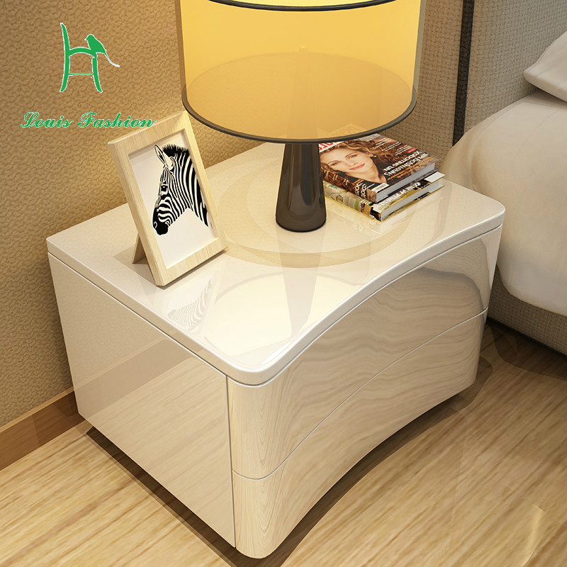 Simple modern European white Bedside cabinet bedroom ...