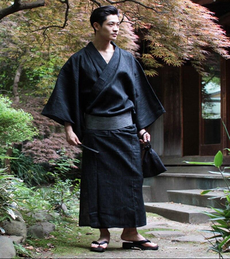 Male Cool Traditional Japanese Kimono Men Cotton Robe Yukata Men s Bath Robe Kimono with Belt