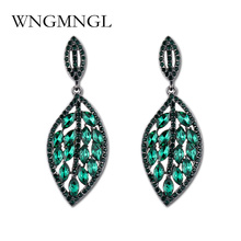 WNGMNGL Trendy New Green White Red Crystal Leaf Earrings Fashion Jewelry Rhinestone Dangle Drop Earrings for Women Bijoux trendy new women s gorgeous white silver color water drop red cz crystal dangle drop earrings for female jewelry gift