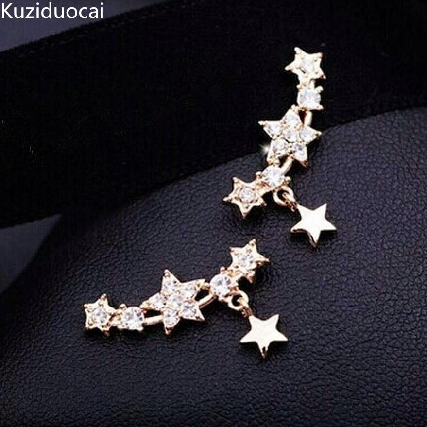 Kuziduocai New Fashion Fine Jewelry Gold Color Rhinestones Tassel Dazzling Five-pointed Star Gift Stud Earrings For Women E-147