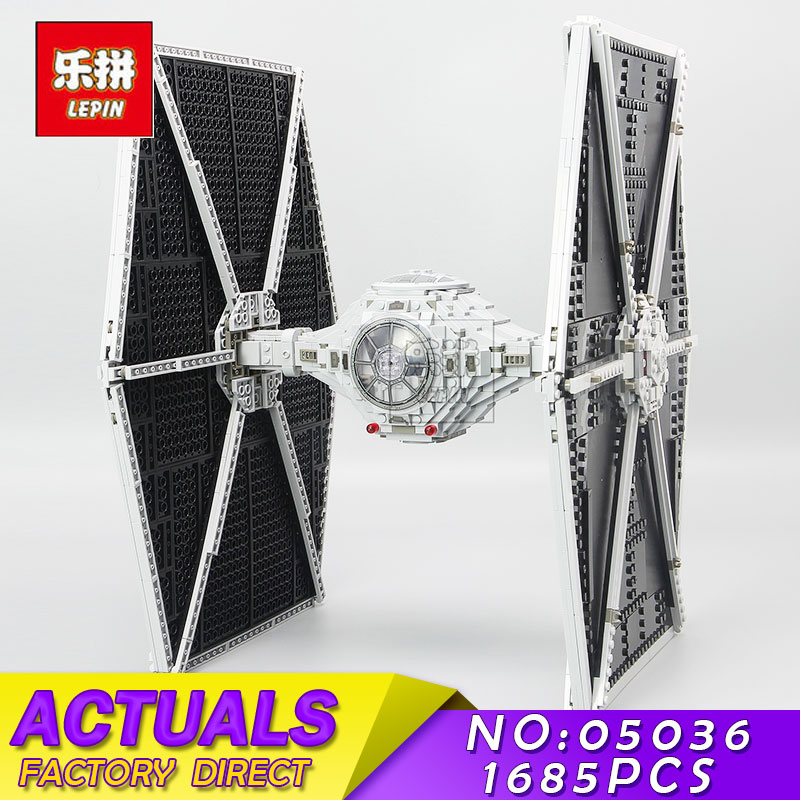 LEPIN 05036 1685Pcs Star Series Wars Tie Fighter Building Blocks Bricks Children Educational Children Toys Compatible Boys Gift lepin tie fighter 05036 1685pcs star series wars building bricks educational blocks toys for children gift compatible with 75095