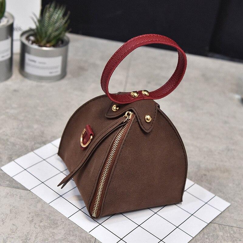 2018 Donne Bag Borsa Nuove Modo Versatile Di Piccola Crossbody Levigatura Spalla Triangolo Coreano Singolo Signore Black Carry Borsa gray brown Sacchetto Delle EqEABxwnOI