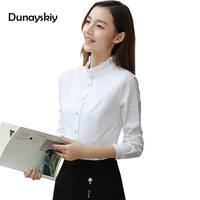 New Solid White Shirt Women Long Sleeve Office Ladies Tops And Blouse Stand Flower Collar Gentle