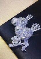 Унисекс, брошь с двойными птицами, булавки, высокое качество, серебро 925 пробы, с кубическим цирконом, модные женские и мужские ювелирные изд