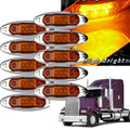 10PCS AMBER Yellow White Red Waterproof Side Marker Lights Clearance Lamp Trailer Truck Bus Car 3-LED 12V 24V