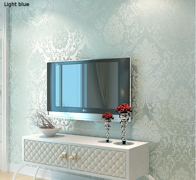 Aliexpress.com : Buy Modern 3D Embossed White/Beige/Blue/Chocolate  Background Damask Wallpaper Sofa TV Backdrop Living Room Wallpaper From  Reliable ...