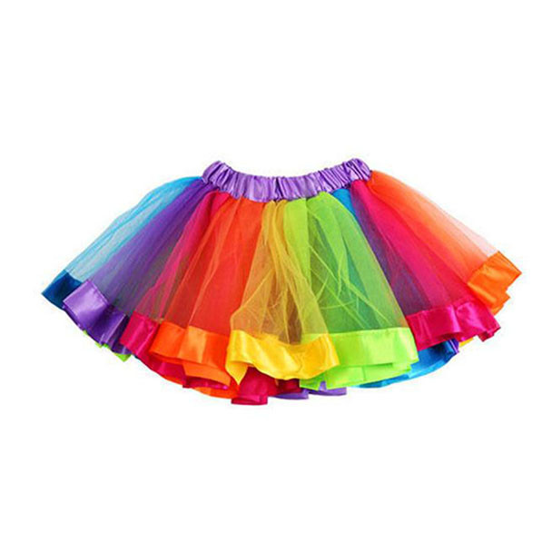 Girls Kids Rainbow Colorful Fancy Tutu Lace Tulle Petti Ballet Costume skirt