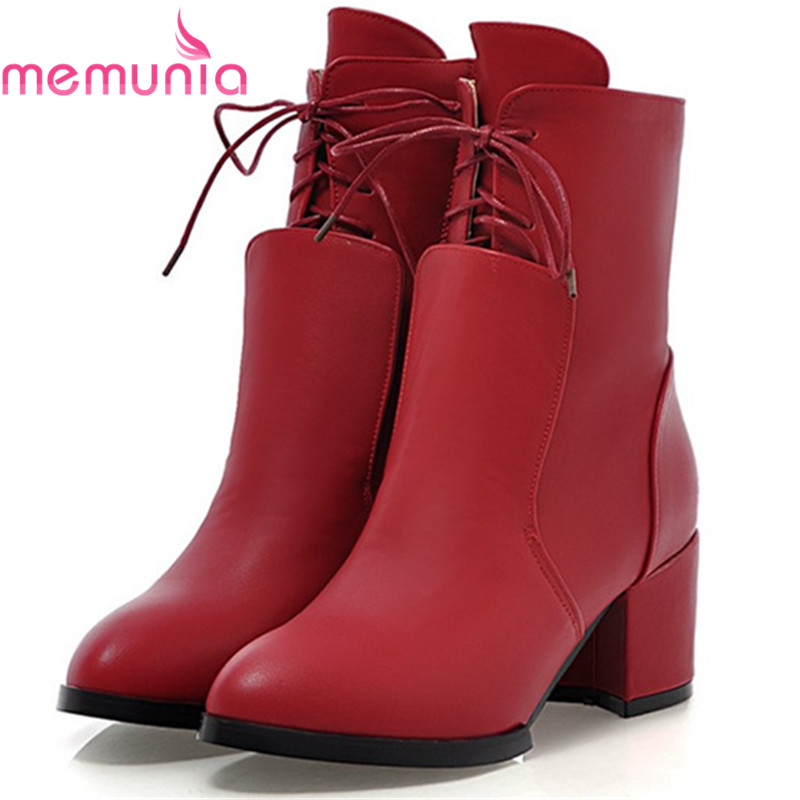 MEMUNIA High heels shoes woman fashion boots female PU soft leather ankle boots for women in autumn pointed toe solid party цены онлайн
